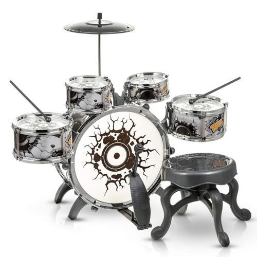 Kids blanc et noir Tambour Kit Jeu Set Drums MUSICAL Jouet INSTRUMENT Pédale Repose-Pieds