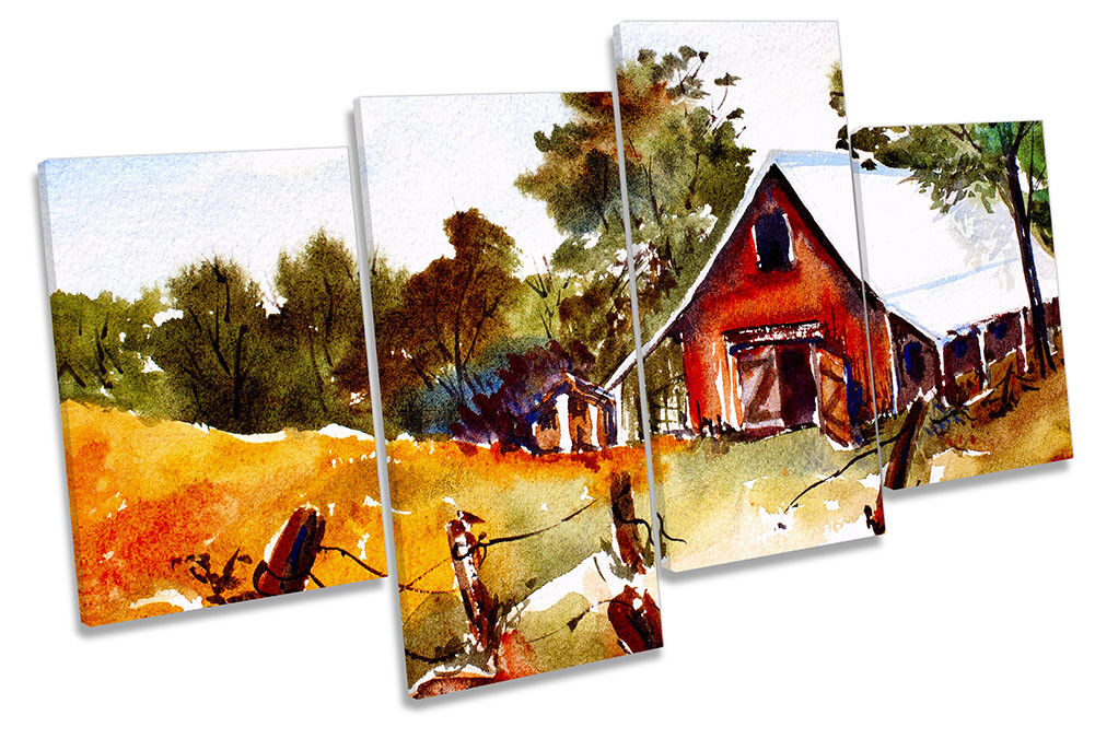 Countryside Landscape Autumn Framed MULTI CANVAS PRINT Wall Art