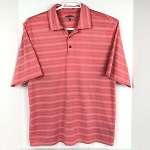 142b6892b6 Pebble Beach Performance Golf Polo Shirt Men's L Pink Striped Short ...