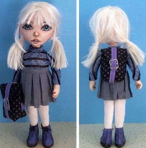 "*NEW* CLOTH FOLK ART DOLL PATTERN /""SCHOOL GIRL WITH BACKPACK/"" BY SUSAN BARMORE"
