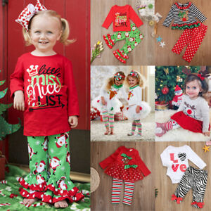 Toddler Kids Baby Girl Princess Lace Tutu Dress Tops Pants Christmas ...