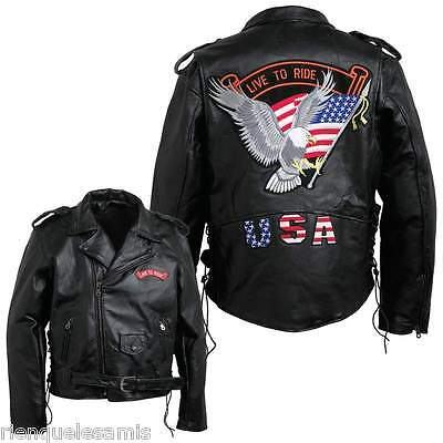Cordiale Blouson Style Perfecto Cuir Homme ~ Grande Taille M à 3xl ~ Biker Harley Custom