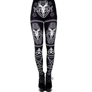 Restyle-Satanic-Ram-Skull-Pentagram-Lucifer-Sigil-Occult-Gothic-Witch-Leggings