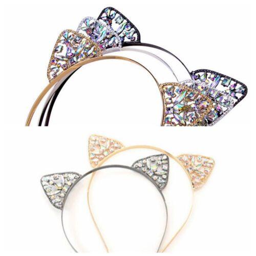 Lovely Girls Metal Rhinestone Cat Ear Headband Costume Party Cosplay Decoration