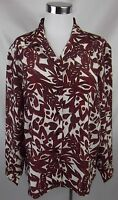 Cabin Creek Blouse Top Large Wine Floral