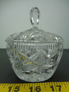 Details About Cut Glass Bowl With Lid Sugar Candy 4 Craft Hobby Crystal Flower Decorative