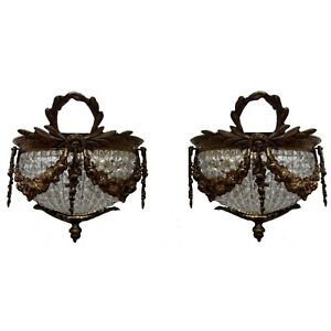 Pair-French-Empire-Wall-Sconces-Crystal-Chains-Bronze-Lights-Clear-Beads