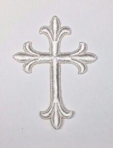 Vintage-Liturgico-Cruz-Bordado-para-Coser-Crudo-7-6cm-x-10-2cm-Emblema-UTP-2-PC