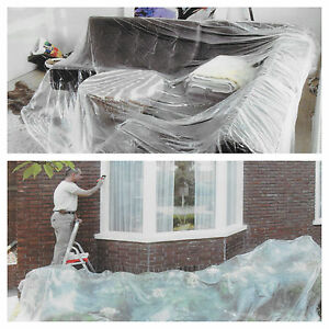 2 large thin clear pvc plastic dust sheet tarpaulin paint. Black Bedroom Furniture Sets. Home Design Ideas