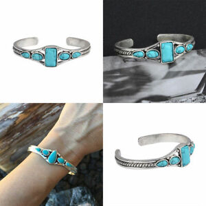 Silver-Bangle-Bracelet-Turquoise-Charm-Boho-Ladies-Womens-Girl-Jewellery-Gift
