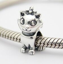 CUTE CAT with BOW CHARM Bead Sterling Silver .925 for European Bracelets 570