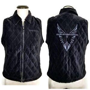 Harley-Davidson-Quilted-Vest-Womens-S-Black-Velour-Lined-Full-Zip-Sleeveless