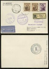 AUSTRIA MEXICO REGISTERED POSTCARD FIRST FLIGHT KLM SCHIPOL 1952