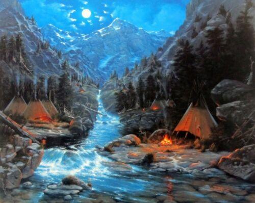 Hunters Moon Mountain Stream Print By Derk Hansen  21.5 x 17