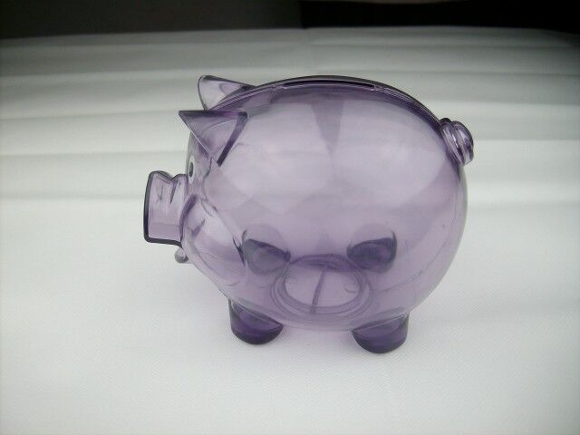 f0afabb47 Transparent Plastic Coin Pig Piggy Money Bank Purple With Stopper for sale  online