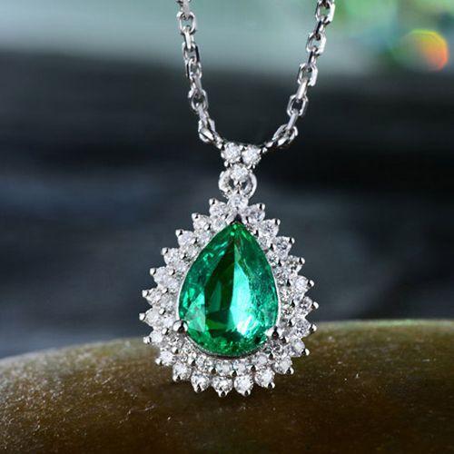 New 1.48ct 18K White gold Natural Colombia Emerald Good Diamond Gorgeous Pendant