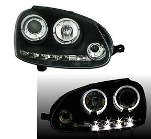 PHARES-FEUX-AVANT-AV-ANGEL-DEVIL-EYES-NOIR-LED-VW-GOLF-5-1-4-1-6-1-9-2-0-3-2-TDI