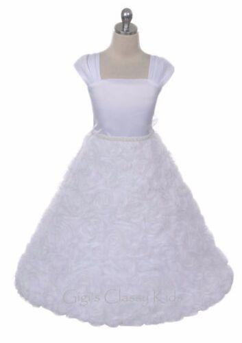 White Flower Girl Dress Wedding Bridesmaid Pageant Formal Recital Birthday 320