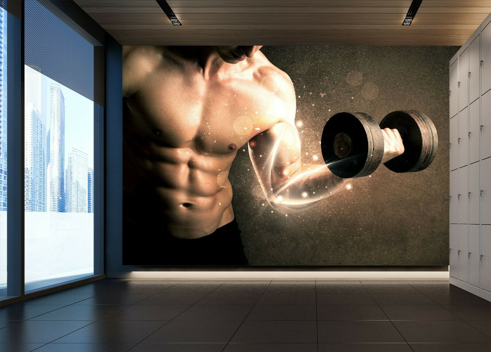 3D Muscle Dumbbell R19 Business Wallpaper Wall Mural Self-adhesive Commerce An