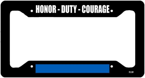 Thin Blue Line Police Officer Honor Duty Courage Flag License Plate Frame Gift