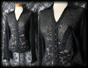 Gothic-Black-Sheer-Lace-Detail-PENITENCE-Fitted-Blouse-12-14-Victorian-Vintage