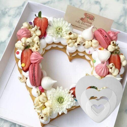 Moldes de repostería para pasteles en forma de corazón de diferentes tamaños