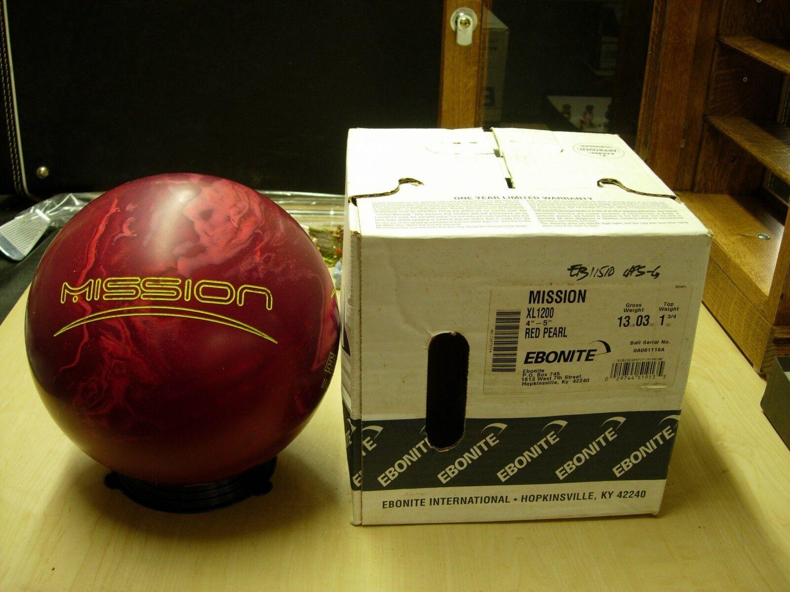 = 13oz TW 1-3 4 PIN 4-5 NIB Bowling Ball 2010 Ebonite Mission 0A061116A