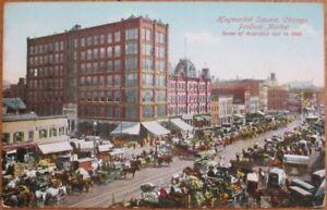 Chicago-IL-1910-Postcard-Haymarket-Square-Produce-Market-1888-Anarchist-Riot