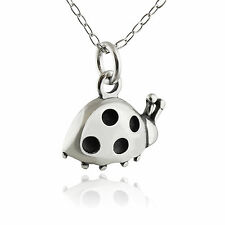Tiny Ladybug Necklace - 925 Sterling Silver - Charm Ladybugs Bugs Gift Small NEW