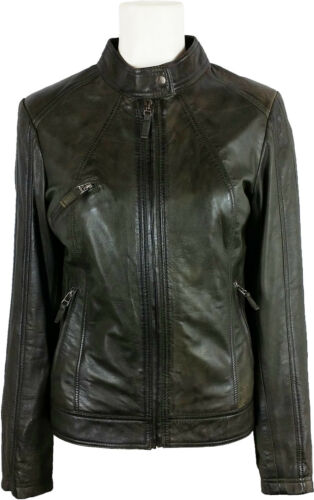 Green #2U Real Leather Jacket UNICORN Womens Classic Biker Jacket