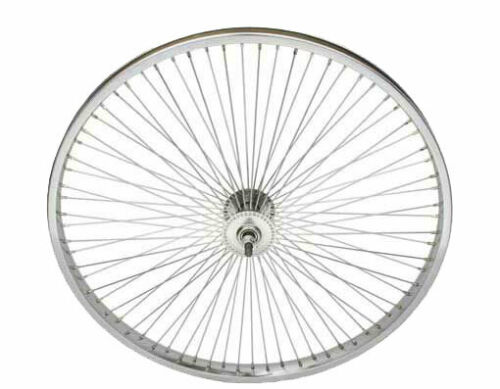 """ORIGINAL BICYCLE CHROME 24/"""" STEEL FRONT AND COASTER WHEEL IN 72 SPOKE! NEW"""
