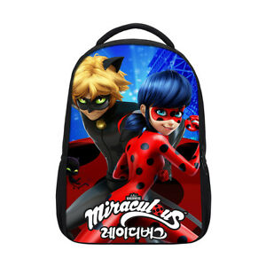 Image Is Loading Miraculous Ladybug Print School Bag Backpack Cat Noir