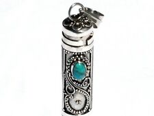 New Sterling Silver Turquoise Cylinder Prayer Box Pendant Urn Jewelry 1 3/4 In.