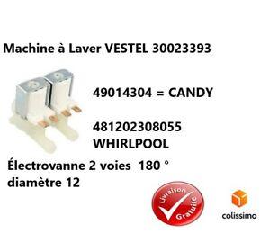 Electrovanne 2 Voies 180° Vestel, Candy, Whirlpool, 30023393,49014304