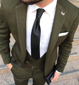 Disenador-Negocios-Oscuro-Verde-Traje-de-hombre-chaqueta-chaleco-Entallado