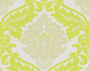 BlingBling Glitter Damask Wallpaper Shocking Lemon