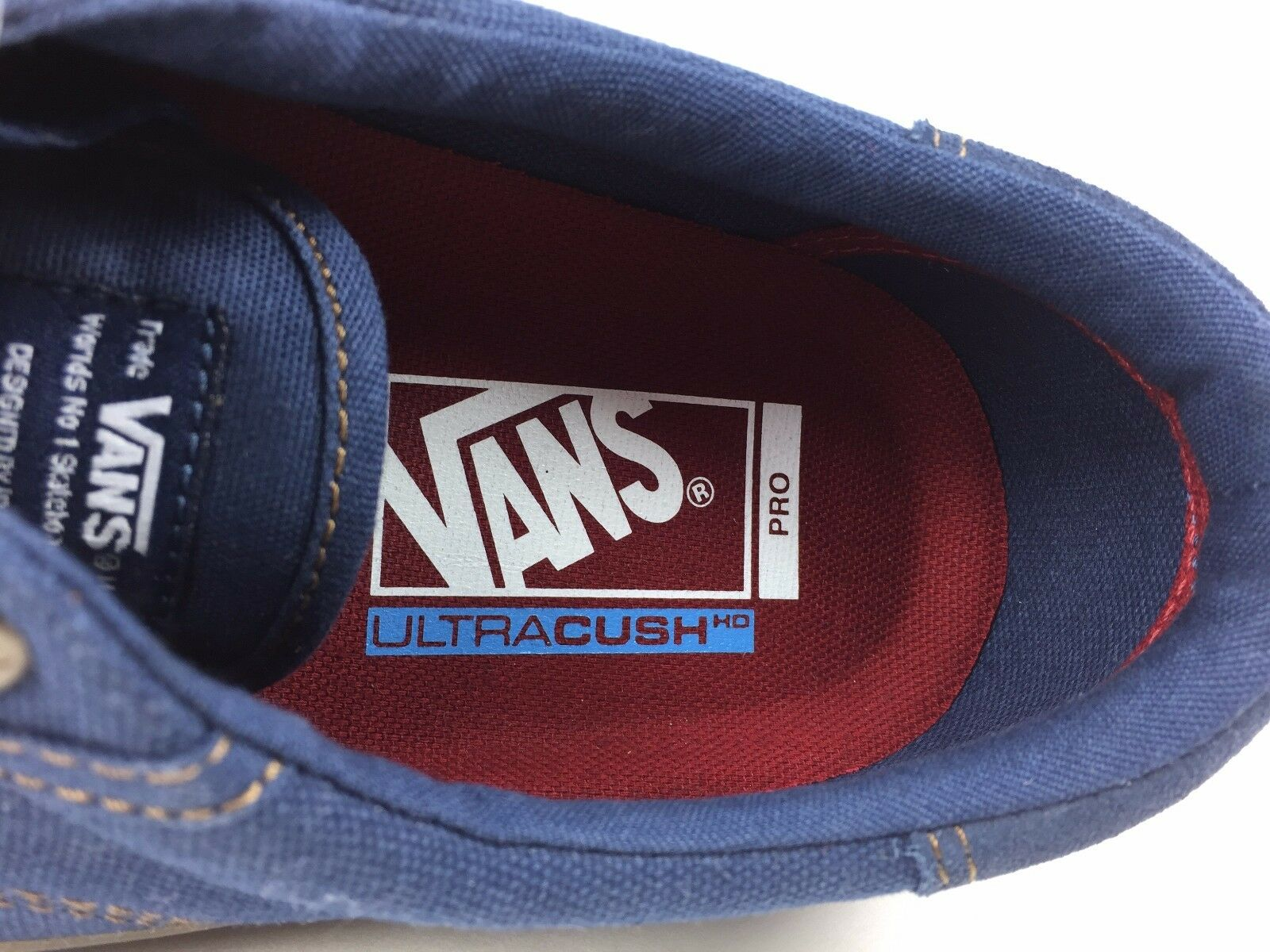 bbc88335cf41 VANS Rowley Solos Pro Size 6.5 Men Navy Blue Gum Canvas Suede Skate Shoe  for sale online