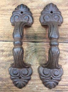 2 Rustic Cast Iron Antique Style Restore Barn Handles Gate Pull Door Handle