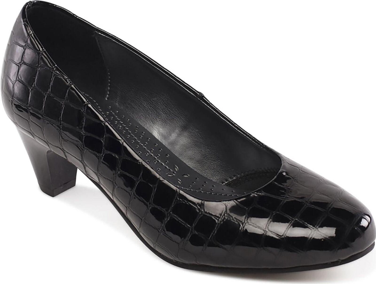 Padders Jane señoras para mujer de cuero extra extra extra ancho (2E) Tribunal Zapatos Negro Patente Croc  Venta barata