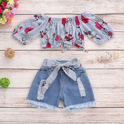 Off Shoulder Crop Top And Elastic Waist Pants Clothing Set For Toddler Girls New