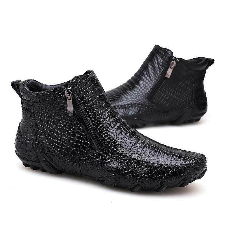 Fashion Mens Real Leather Boots Alligator High Top Dress Formal Zipper shoes New