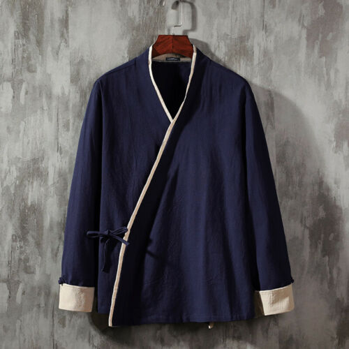 100/%Cotton Men Japanese Kimono Coat Loose Vintage Jacket Cardigan Outwear Tops