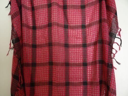 Cerise /& Noir Carreaux Tartan Polyester écharpe avec pampilles