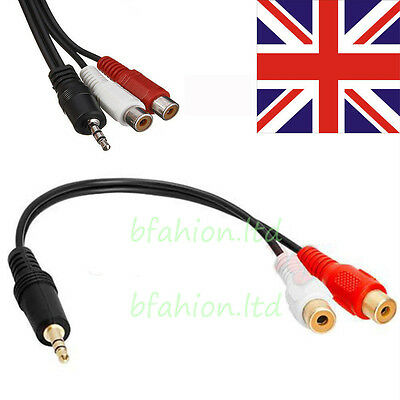 3.5mm 1/8 Stereo Male Mini Plug to 2 Female RCA Jack Adapter Audio Y Cable