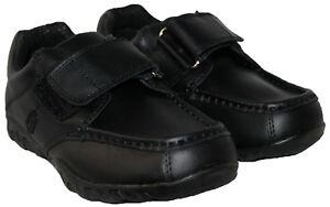 Niños Negro Correa de cuero recubierto de Barra de Cierre Táctil Zapatos Escolares en tamaño 2