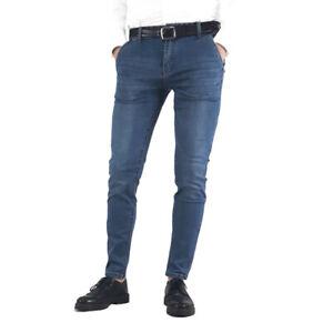 N+1 Jeans Uomo Slim Fit Elasticizzati Denim Cannett/è 5 Tasche 46 48 50 52 54 56 58