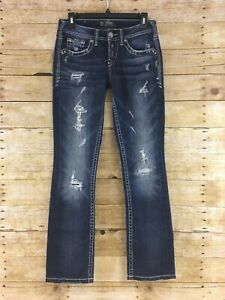 Silver-Aiko-Baby-Boot-Jeans-Womens-25x30-Distressed-Dark-Blue-Wash-Stretch