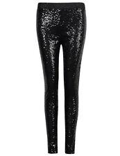 US Womens Stretchy Skinny Leggings Pants Bling Sequins Metallic Trousers Black