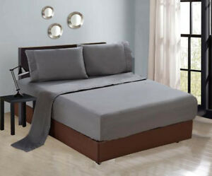 4-PC-Luxury-Gray-Queen-Sheet-Set-Flat-Fitted-Pillows-New-1300TC