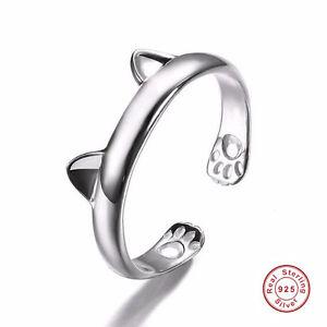 Women-Girl-Cute-Cat-Ear-Claw-Design-925-Sterling-Silver-Open-Wedding-Finger-Ring